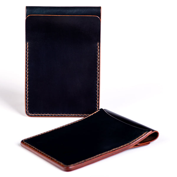 Two slot vertical wallet, black Horween shell cordovan - Currier & Beamhouse