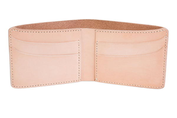 Traditional bifold wallet, natural veg tan - Currier & Beamhouse