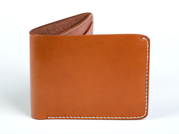 Traditional bifold wallet, tan English bridle - Currier & Beamhouse