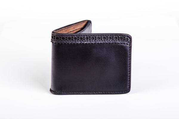 Two slot bifold wallet with brogue detail, black Horween Chromexcel - Currier & Beamhouse