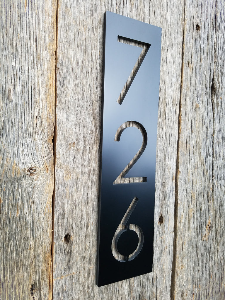Black house numbers 4x4 mailbox post size address plaque modern minimalist metal faces