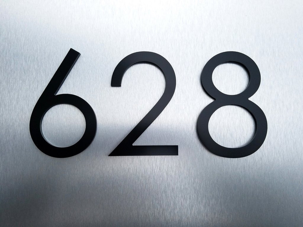 8 black modern house numbers stud mounted metal address numbers and letters minimalist contemporary