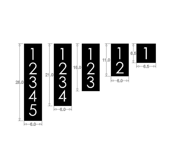 19a8b0ff57fe0 Black House Numbers Vertical Modern Address Plaque Size Options Custom Made