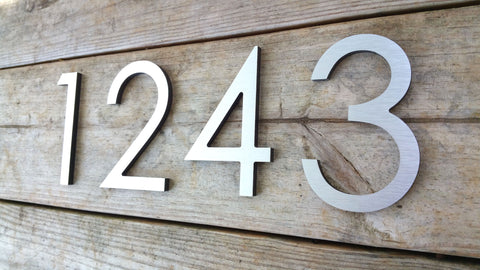 sale 4 modern house numbers brushed aluminum stud mounted metal address numbers and letters minimalist