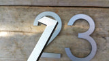 4'' Modern House Numbers Brushed Aluminum Stud Mounted Metal Address Numbers And Letters Minimalist Contemporary