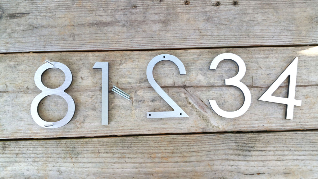 6 Modern House Numbers Brushed Aluminum Stud Mounted Metal