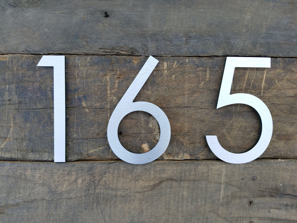 6 modern house numbers brushed aluminum stud mounted metal address numbers and letters minimalist