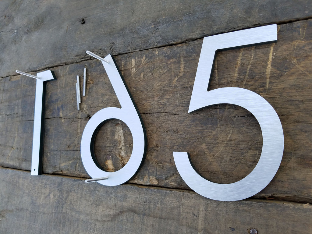 12'' Large Modern House Numbers Brushed luminum Stud Mounted ... - ^
