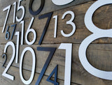 12'' Large Modern House Numbers Brushed Aluminum Stud Mounted Metal Address Numbers And Letters Minimalist Contemporary