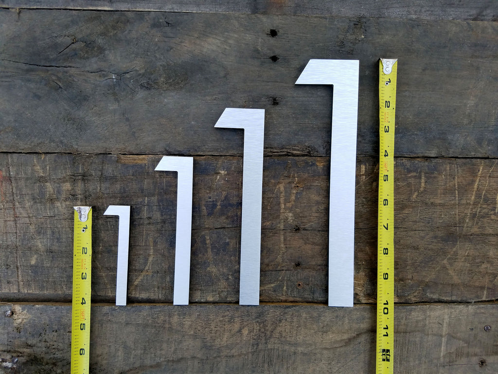 12 Large Modern House Numbers Brushed Aluminum Stud Mounted