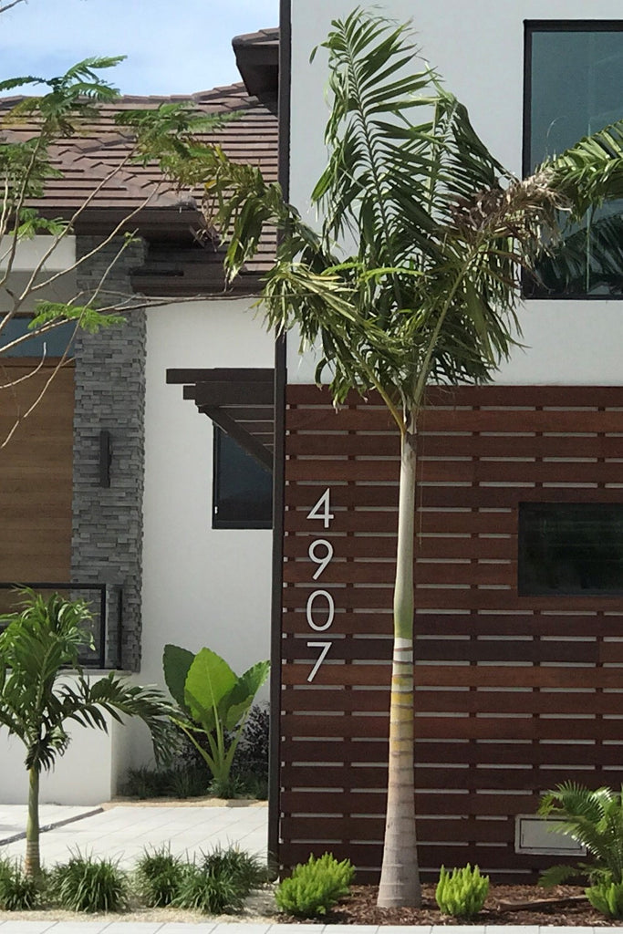 Large Modern House Numbers Brushed Aluminum Stud Mounted Metal - 10 inch metal house numbers