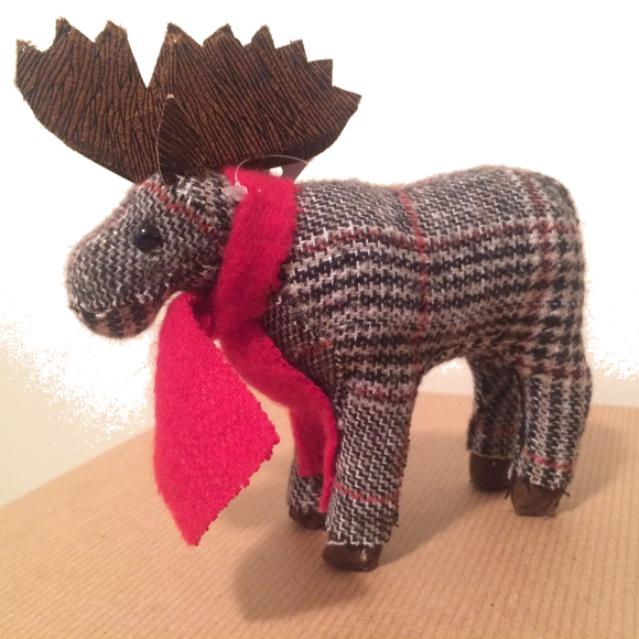 Mini Plaid Moose Christmas Decoration