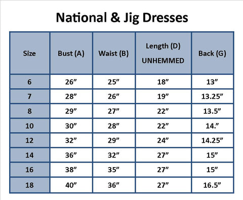 National and Jig Dress Size Chart