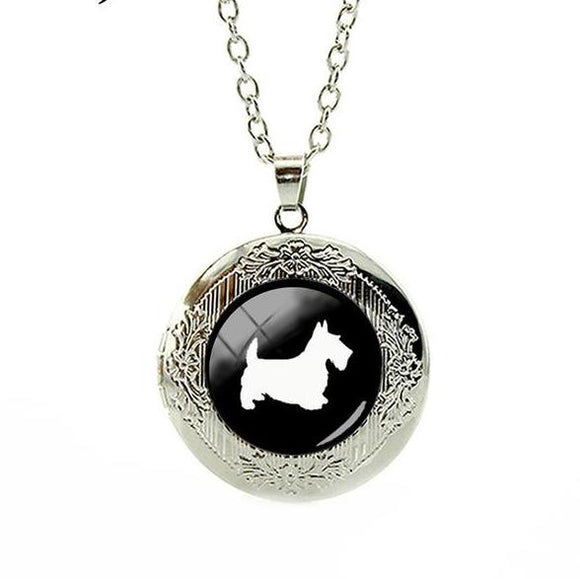 Scottie Dog Locket Pendant & Chain