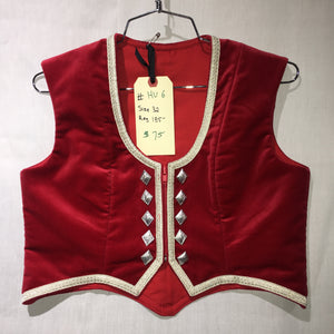 "Highland Vest #6 - Poppy Red - 35"" Chest"