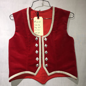 "Highland Vest #8 - Poppy Red - 35.5"" Chest"