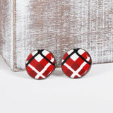 Tartan Clay Earrings