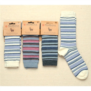 Alpaca Bamboo Striped Crew Socks