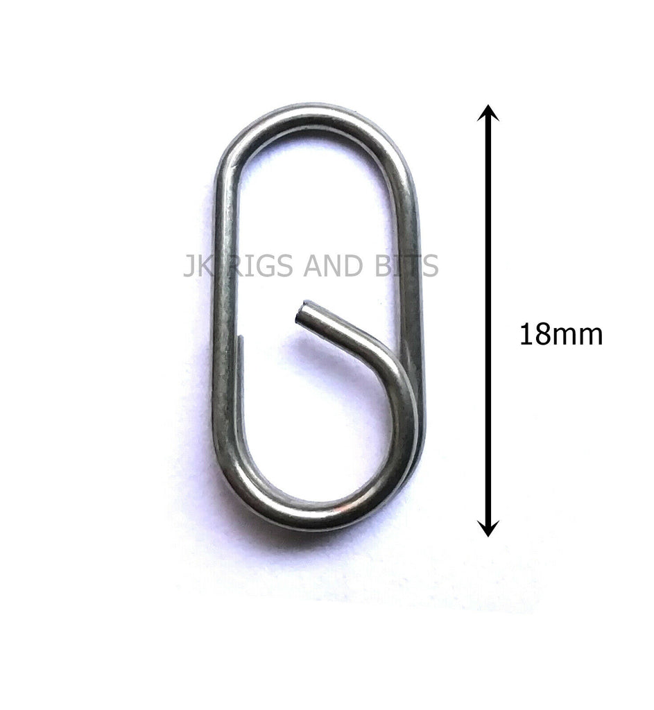 Large Oval split ring - Stainless lead clips - easy links 18mm long