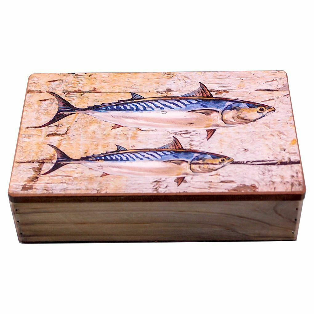 Wooden Box with Mackerel Motif - Fish Box - Ideal Gift