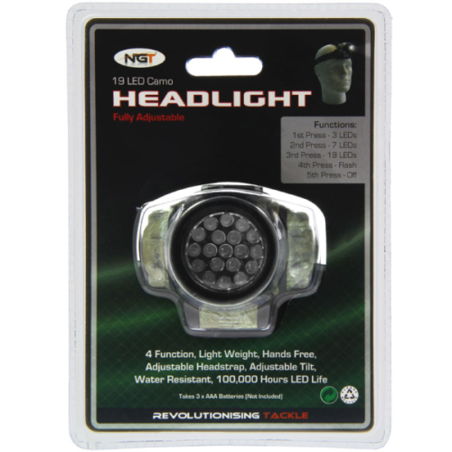 Camo Fishing Headlight - 19 LED headlamp - NGT -  4 function, water resistant