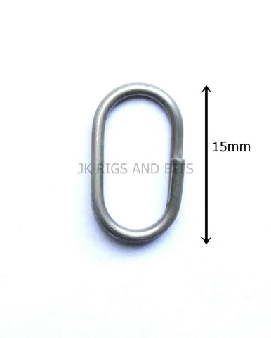 Oval split ring lead clips - Stainless Steel easy links 15mm Sea Coarse Fishing