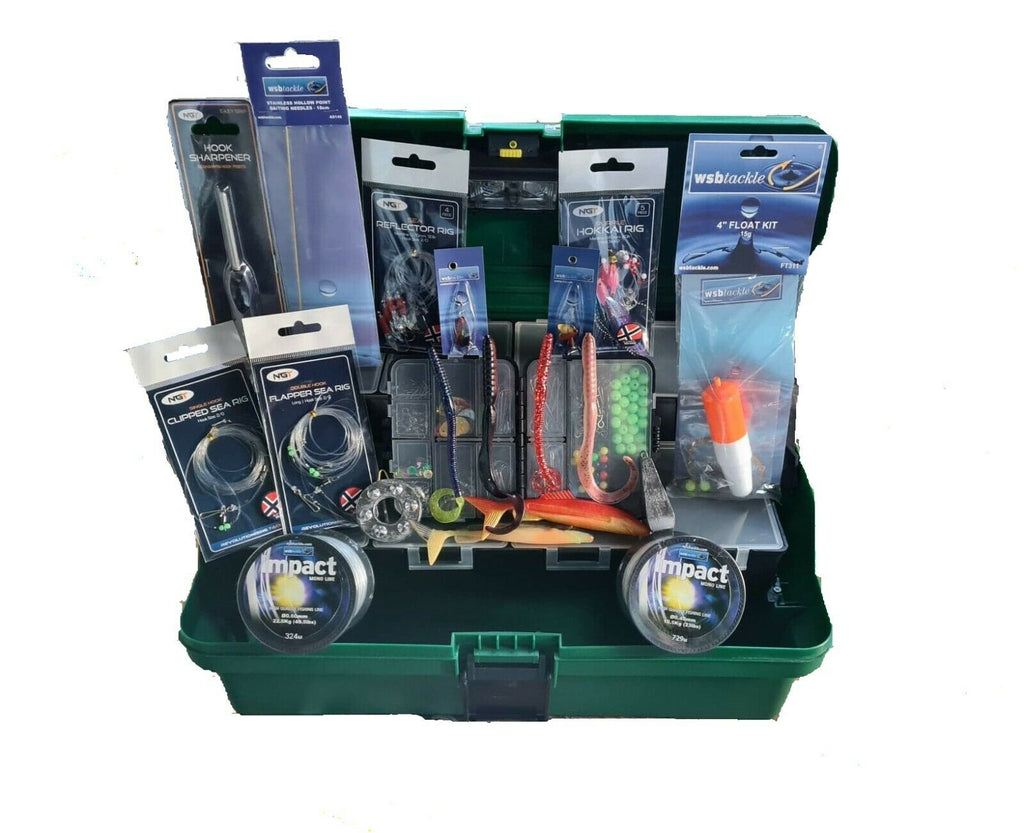 Deluxe Sea Fishing-Torch Box +tons of tackle weights rigs line lures accessories