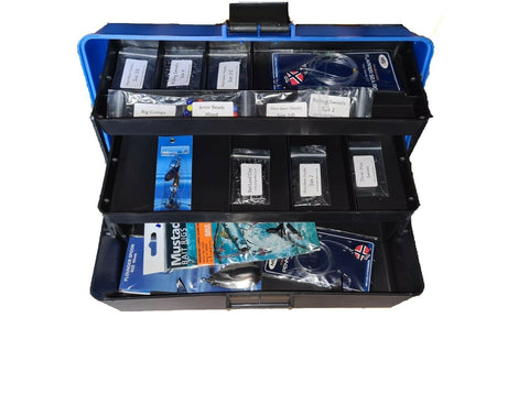 Sea Fishing Tackle Box Set - with Rigs, Spinner, Hooks, Swivels, Clips, Crimps