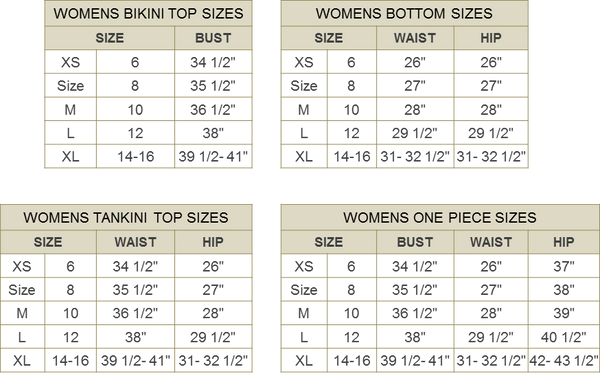 For Envy Profile By Gottex Swimwear Size Charts Forenvy