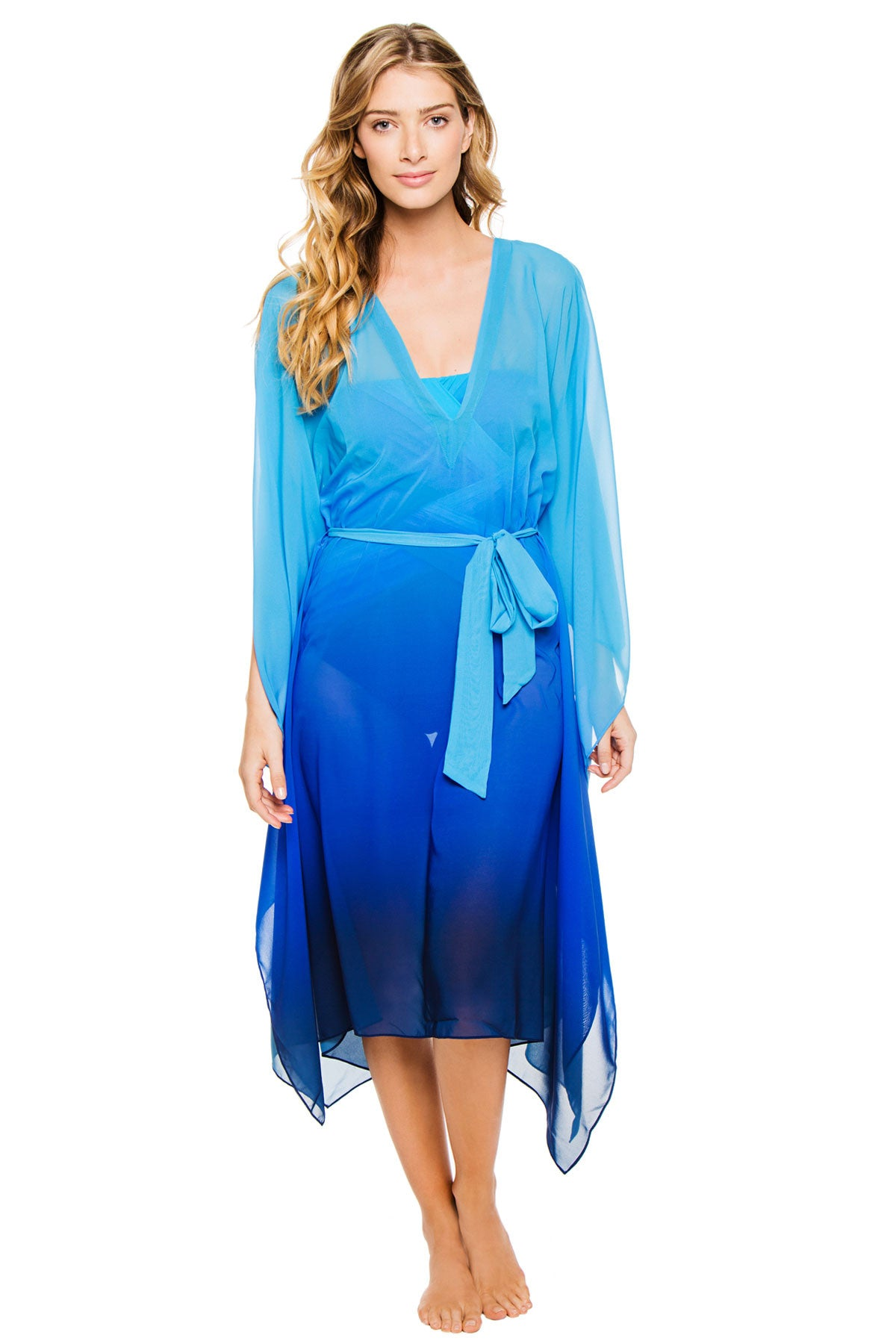 f4ad3886ccba2 Gottex Harmony Blue Caftan Swimsuit Cover Up - forENVY
