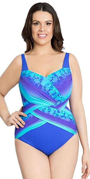 7b363fb5d895f Gottex Pixel Ombre Full Figure Surplice One Piece Swimsuit - forENVY