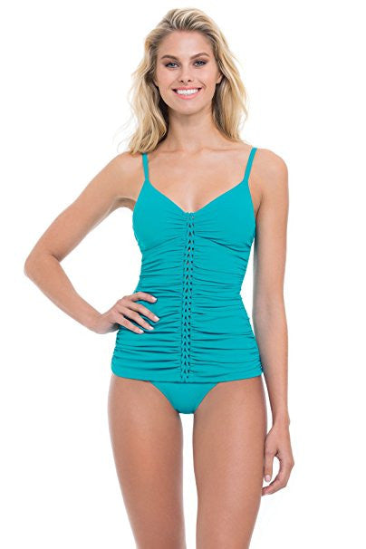 Profile by Gottex Blueberry Waterfall Shirred Tankini Top