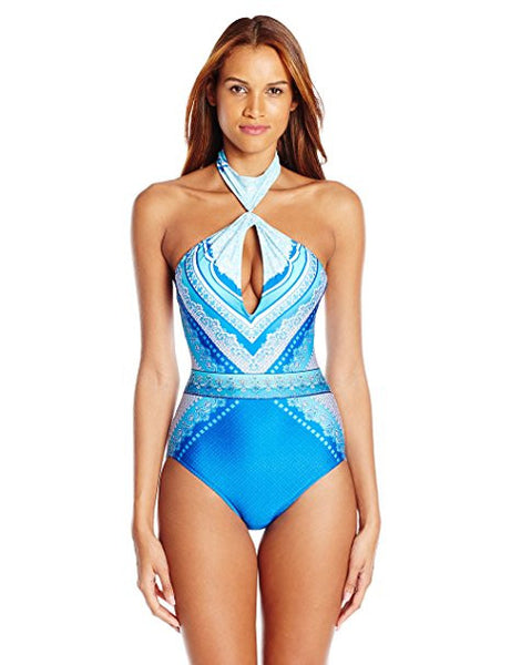 8ca62f6b7a Gottex Blue Jasmine High Neck One Piece Swimsuit - forENVY
