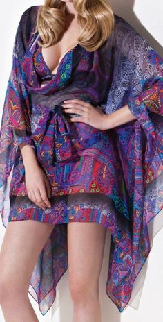 2163af538cd79 Gottex Dark Folklore Silk Short Kaftan Cover Up - forENVY