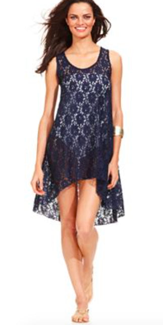 683ea978ec92f Profile By Gottex Navy Lace Crochet Swimsuit Cover Up - forENVY
