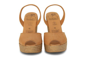 Tan High Wedge Espadrilles by Mibo