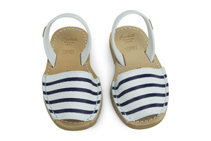 Castell Avarcas Kids Maritime Navy Stripes Leather Slingback Sandals