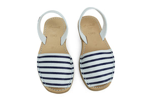 Castell Avarcas Women's Maritime Navy Stripes Leather Slingback Sandals