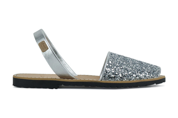 Castell Avarcas Women's Classics Glitter Silver Leather Slingback Sandals