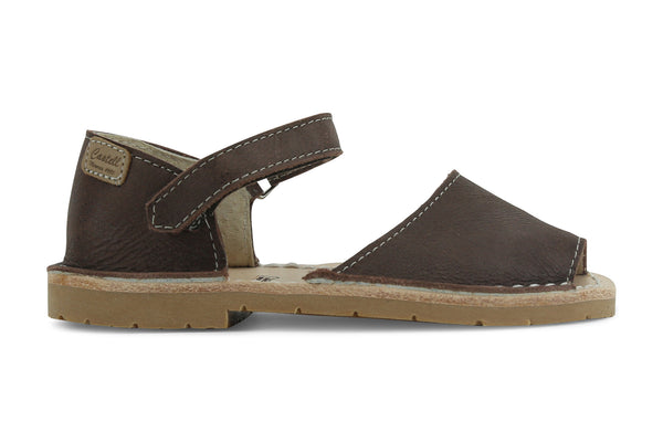 Castell Avarcas Kids Frailera Cacao Leather Velcro Strap Sandals