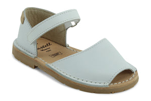 Castell Avarcas Kids Frailera White Leather Velcro Strap Sandals