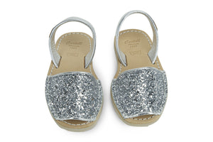 Castell Avarcas Kids Classics Glitter Silver Leather Slingback Sandals