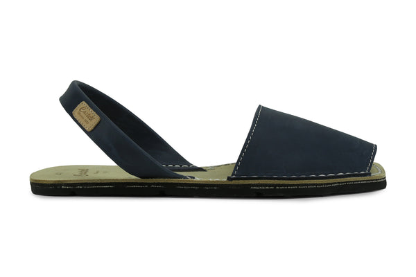 Castell Avarcas Men's Rustic Navy Blue Leather Slingback Sandals