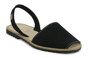 Castell Avarcas Women's Classics Black Leather Slingback Sandals