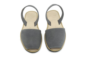 Castell Avarcas Women's Classics Grey Leather Slingback Sandals