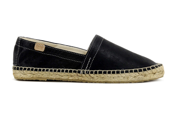 Castell Men's Black Leather Espadrilles