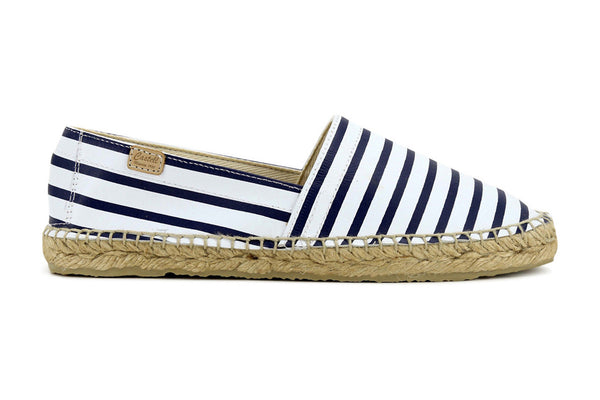 Castell Women's Navy Stripes Leather Espadrilles