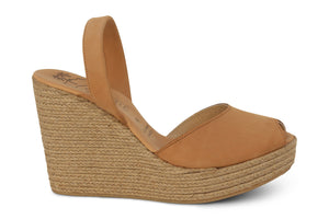 Mibo Avarcas Tan Espadrille Wedge Leather Slingback Sandals
