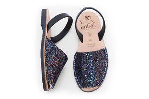 Mibo Black Multi Glitter Menorcan Sandals