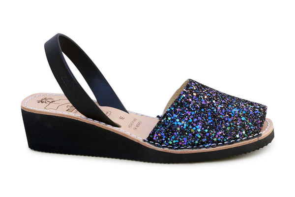 Mibo Avarcas Black Multi Glitter Wedges Menorcan Sandals